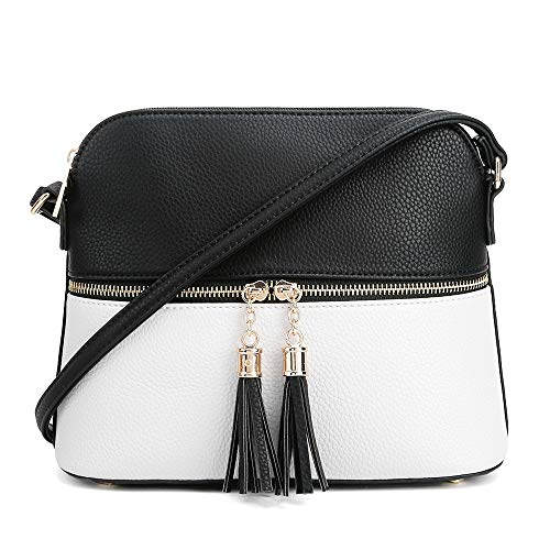 SG SUGU Lightweight Medium Dome Crossbody Bag with Tassel | Zipper Pocket | Adjustable Strap (Black/White)