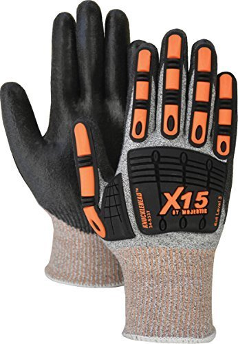 Majestic Glove 34-5337/L Dynma X15 Glove with Polyurethane Palm and TPR Impact Protection, Cut Level 3, Large, Black (Pack of 12)