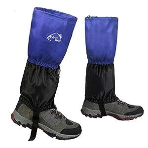InnoLife - Polainas unisex para deportes al aire libre (senderismo, escalada, caza), impermeables, a prueba de nieve, fundas protectoras para las piernas, color azul, tamaño talla única