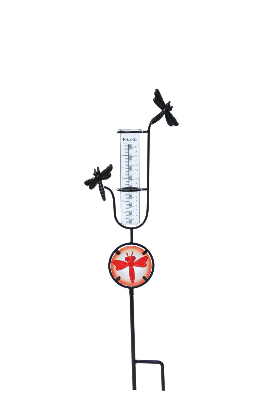 Toland Home Garden Dragonfly Decorative Outdoor Garden Stake Rain Gauge Statue with Glass Udometer for Yards, Gardens, and Planters 218187