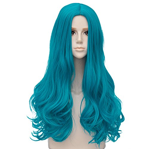 Long Turquoise Wig (Turquoise Blue Long 24 Inches Wavy Heat Resistant Cosplay Wig Fashion Lolita Women's Party)