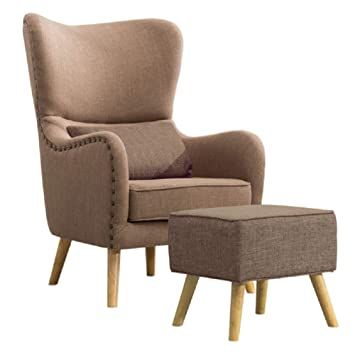 Warmiehomy Linen Fabric Armchair Buttoned Wing Back Occasional Accent Chair With Footstool For Bedroom Living Room Office Lounge Reception Dark Grey Armchairs