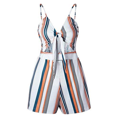 Noeud Sans Jumpsuit Bow Jumpsuit De Casual Chic Femme Multicolore Manches Combishort Fathoit Strap Femmes à Neck éVider Rayures V 4vPE8n