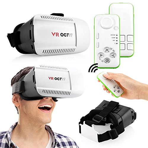 Oct17 3D Glasses VR Virtual Reality Headset Game Video with Bluetooth control remote For iPhone Android IOS Samsung HTC