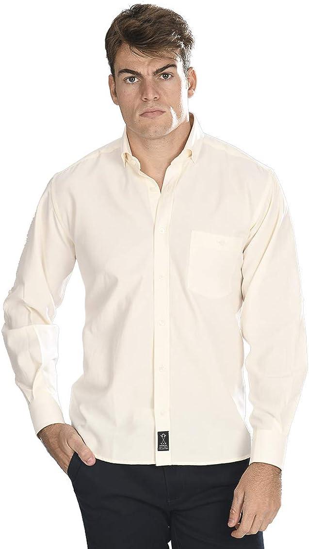 Camisa Oxford Manga Larga de Hombre en Color Crema - 5_XL, Arena ...
