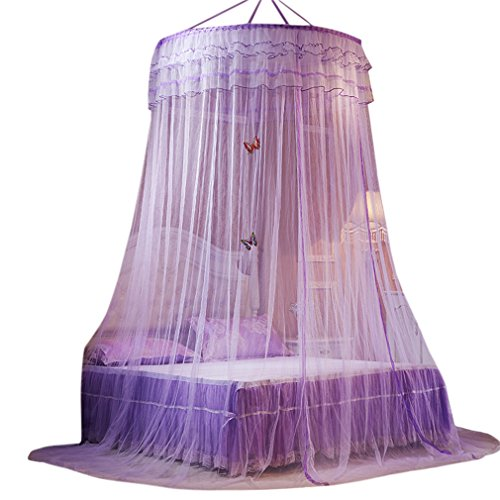 (La Vogue Bed Nets King Size Round Hoop Mosquito Bed Canopy Queen Size Full Coverage (Purple))