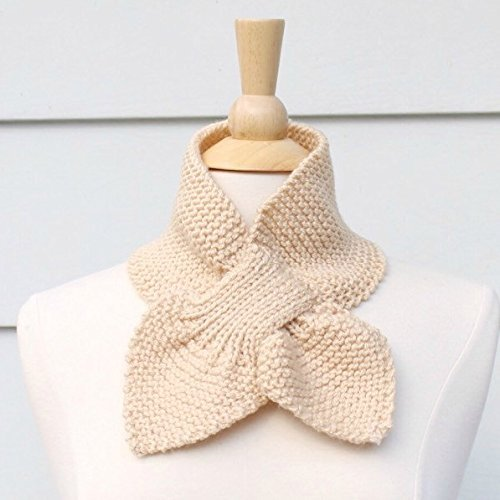 Light Beige Knit Keyhole Scarf