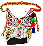 Jodi Cross Body Bag With Chiapas Belt Strap White with Embroidery