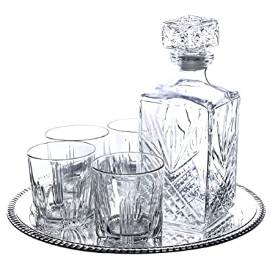 Klikel Selecta 7-piece Whiskey Drinkware Barware Drink Set With 5 Double Old Fashioned Glasses, Silver-plated Round Mirror Tray And Star Design Square Decanter