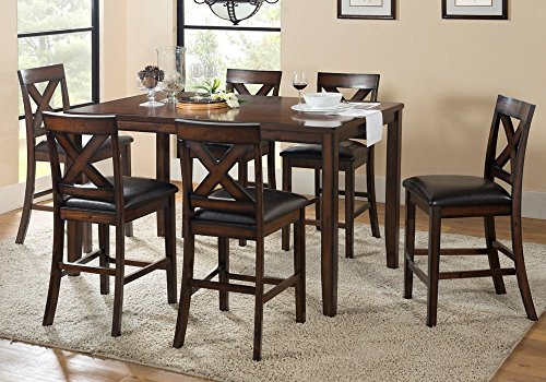 1PerfectChoice Palm Springs 7 pcs Counter Height Dining Set PU Seating Chairs X Back Cappuccino