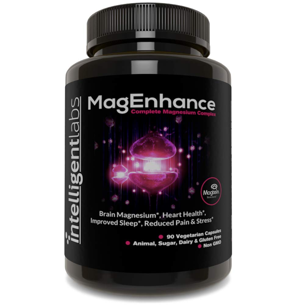 MagEnhance Best Magnesium Supplement, Magnesium-L-Threonate Complex, with Magnesium Glycinate and Taurate | Brain, Heart, Sleep, Memory and Fibromyalgia, 100% Money Back Guarantee! Vitamin Magnesium. by Intelligent Labs