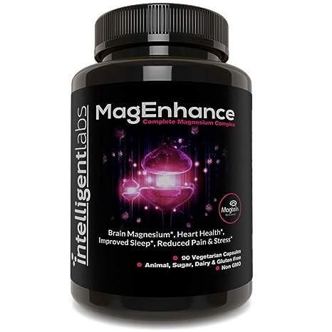 MagEnhance El mejor suplemento de magnesio, Complejo de L-treonato de magnesio con taurato y glicinato de magnesio, Cerebro, sueño, memoria y ...