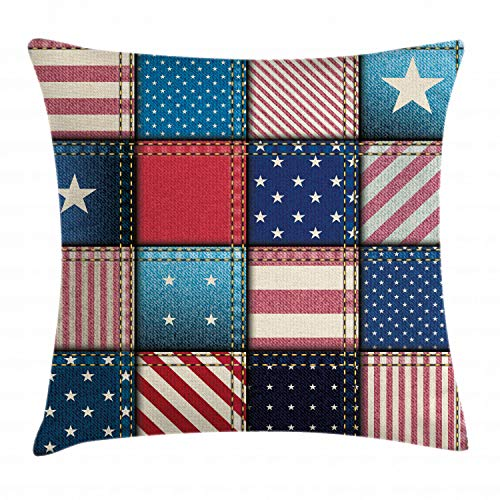 Ambesonne Farmhouse Decor Throw Pillow Cushion Cover, American Flag Patchwork with Vertical and Horizontal Stripe and Star Forms, Decorative Square Accent Pillow Case, 18 X 18 Inches, Red Blue ()