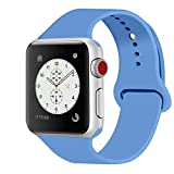 iDon Smart Watch Sport Band, Soft Silicone Replacement Sports Band compatible for Apple Watch Band 38mm 2017 Series 3 Series 2 Series 1 All Models(S/M, Royal Blue)