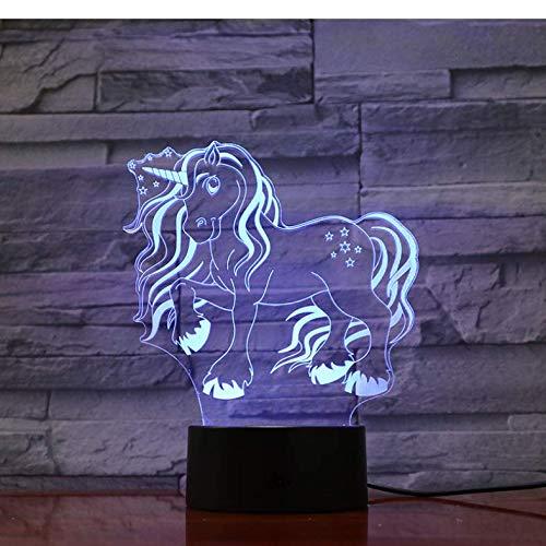 Tier Pferd Einhorn 3D Led Lampe Illusion Pony Kinder Nacht Glühbirne Multi-Color-Flash-Geschenk Kid Toy Batterie Touch