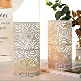 JHY DESIGN Set of 2 White Table Metal lamp Battery Powered,Cordless Accent Light with Edison Style Bulb Battery Operated…