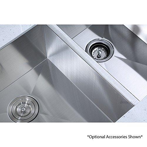 Decor Star H-003-Z 33 Inch x 20 Inch Undermount Offset Double Bowl 16 Gauge Stainless Steel Luxury Handmade Kitchen Sink Zero Radius by Decor Star (Image #6)