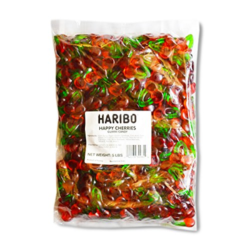 Haribo Gummi Candy  Happy Cherries  5  Pound Bag