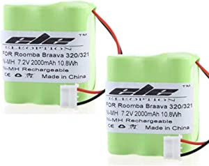 MIFXIN 2 Pack 7.2V 2000mAh NI-MH Battery for iRobot Braava 320 321 & Mint 4200 4205 Cleaner Robot 4408927