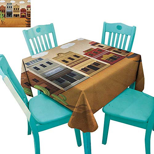MartinDecor American Washable Tablecloth Wild West Scenery Village Old Town Texas Cowboy States Nostalgic Illustration 54