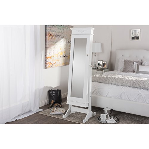 Wholesale Interiors Baxton Studio Bimini White Finish Wood Crown Molding Top Free Standing Full Length Cheval Mirror Jewelry Armoire