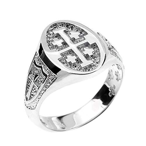 solid 14k white gold jerusalem cross ring lifestyle updated