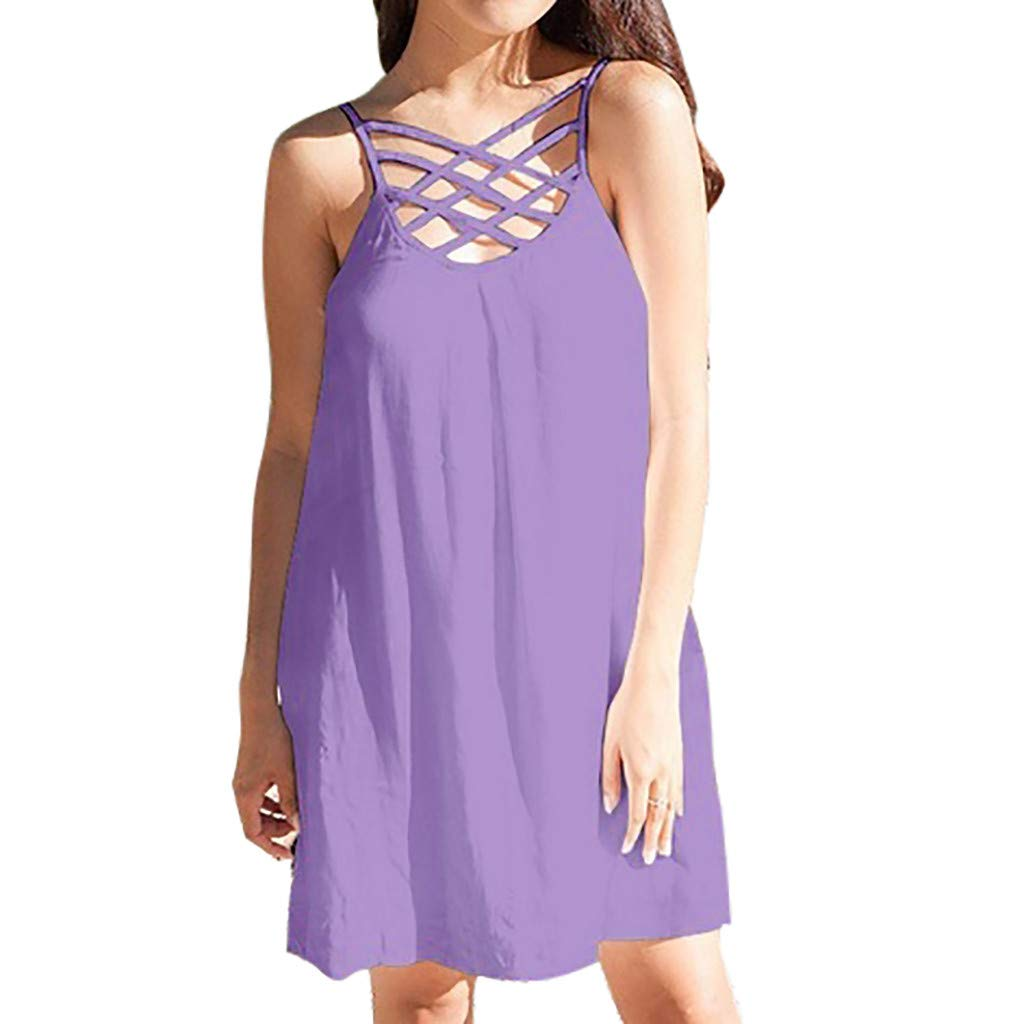 wodceeke Women's Solid Sleeveless Off Shoulder Mini Dress Camisole Criss Cross Summer Dresses(Purple,L)