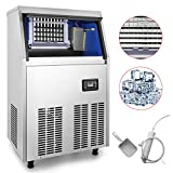 VEVOR 110V Commercial Ice Maker 100LBS/24H with 44lbs Storage Capacity Stainless Steel Commercial Ice Machine 36 Ice Cubes Per Plate Industrial Ice Maker Machine Auto Clean for Bar Home Supermarkets
