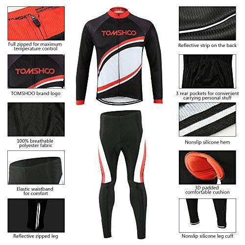 super popular b483f 0e6d6 85% OFF TOMSHOO Ropa Hombre Primavera y Otoño Conjunto de Ropa de Ciclismo  - Jersey de Manga Larga y Zip Completo+ Pantalones Largos Cómodo Respirable  ...
