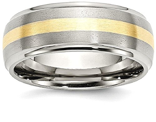 ICE CARATS Titanium Ridged Edge 14k Yellow Inlay 8mm Brushed/ Wedding Ring Band Size 8.50 Precious Metal Fine Jewelry Gift Set For Women Heart by ICE CARATS (Image #1)