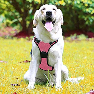No Pull Dog Harness - Adjustable Easy Walk Dog Vest with Handle, Front Clip, 3M Reflective, 2 Metal Ring, Oxford Material, Easy Control for Large Dogs