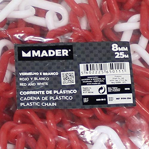 Plastic Chain 8 mm x 25 m Red and White 65011