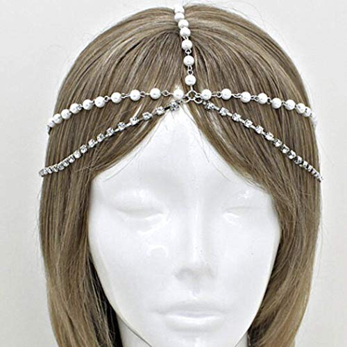 Catery Headbands Jewelry Crystal Pearl Hair Chain Boho Wedding Headpiece Head Chain Spring Summer Christmas Head Chains Vintage Hair Accessories Jewelry for Women and Girls (Silver)