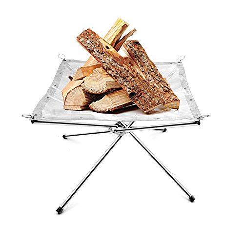 Portable Stainless Steel Mesh Outdoor Camping Fire Pit Wood holder and Rack Fire Ring with a Free Carry Bag by Spritool