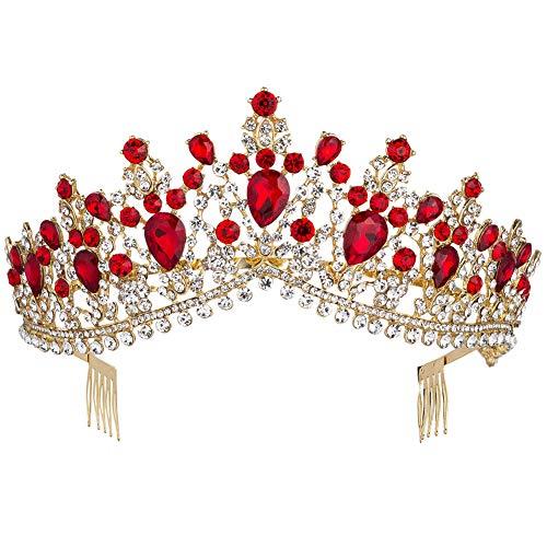 Royal Rhinestone Crystal Queen Tiara Headband Wedding Pageant Birthday Party Crowns Princess Headpieces for Women Girls (Gold Red) (Wedding Tiara Red)