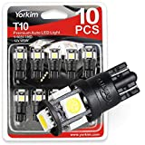 Yorkim T10 194 LED Bulbs 6500K Non Polarity 6th Generation for Car Interior Lights, LED Plate Light, Turn Signal Lights and Corner Lights - W5W 168 2825 T10 194 Wedge LED Bulb, Pack of 10 - White