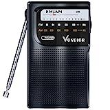 AM FM Radio Portable - Best Reception Transistor Radio/Longest Lasting Battery Operated Radio (2AA) / FM AM Pocket Radio. Mono Headphone Socket, by Vondior (Black)