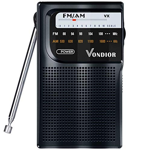 AM FM Radio Portable – Best Reception Transistor Radio/Longest Lasting Battery Operated Radio (2AA) / FM AM Pocket Radio. Mono Headphone Socket, by Vondior (Black)