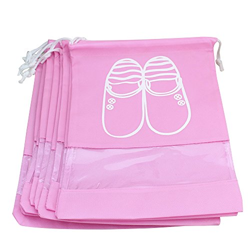 Kaimao 10 Pcs Portable Dust-proof Breathable Travel Shoe Organizer Bags Drawstring Multifunctional Shoe Storage Bag Pocket with Transparent Window for Men Women (Large Size, - Through See Which Clothes Can Sunglasses