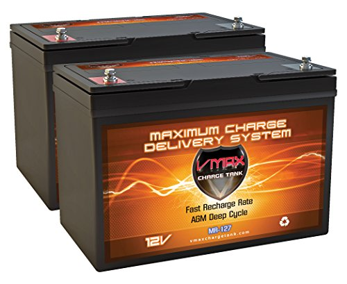 QTY2 VMAX MR127-100 12V 100AH AGM Deep Cycle Group 27 Batteries for 24 Volt 24V 80 Pound 80lb Thrust Trolling Motors by VMAXTANKS