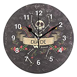 Jojogood Day of The Dead Background with Nice Skeleton Wall Clock Silent Non Ticking Clock,Battery-Powered with Quartz Movement for Living Room Bedroom Home Decoration