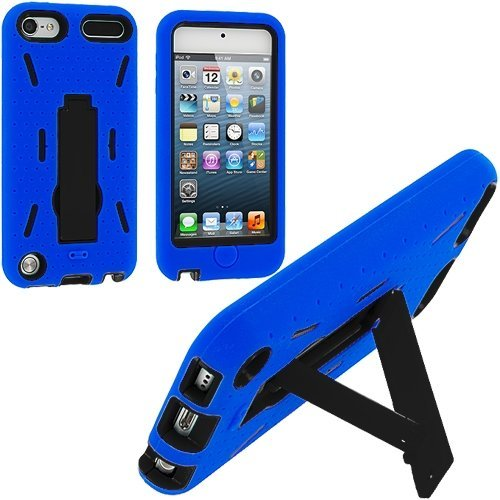 Blue / Black Hybrid Rugged Hard Silicone Case Cover w/ Stand for Apple iPod Touch 5th Generation 5G 5 (Cases M&m Ipod 5 Silicone)