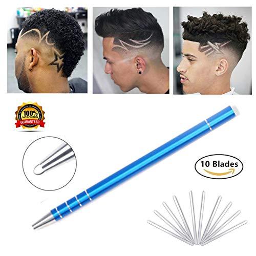Deluxx Hair Styling Pen Kit – Professional Hair Engraving Razor Pen With 10 Sharp Stainless Steel Blades & Tweezer – Premium Beard & Eyebrow Tattoo Pen For Shaving & Cool Hair Designs