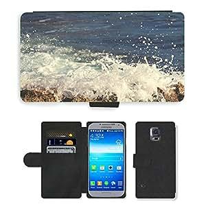 Just Phone Cases PU LEATHER case coque housse smartphone Flip bag Cover protection // M00421728 Estrellarse de las ondas de agua de mar // Samsung Galaxy S5 S V SV i9600 (Not Fits S5 ACTIVE)
