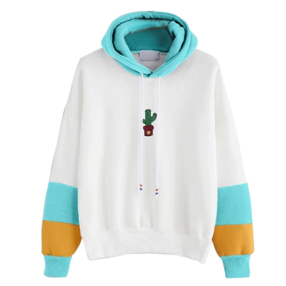 Womens Long Sleeve Cactus Print Casual Hoodie Sweatshirt Hooded Pullover Tops Blouse