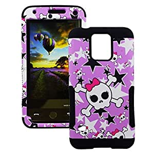 For Galaxy S5 Girl Skull and Stars Hybrid Protector Cover (Pink/Black)