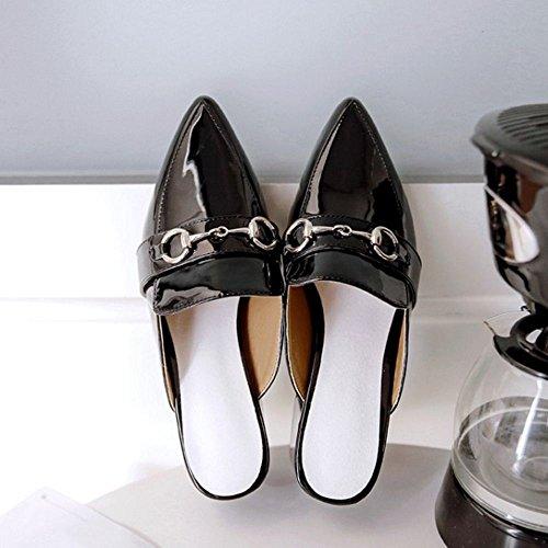 TAOFFEN Women Fashion Block Heel Mules Sandals Closed Toe Black lXFcCKRb