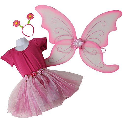 Girls Pink / Ballerina Fairy Princess Birthday Tutu Gift Set: Leotard, Tutu & Wings Size 3-5 Years -