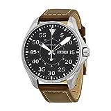 Hamilton Men s H64611535 Khaki King Pilot Black Watch with Brown Leather Band