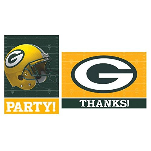 Licensed MLB Green Bay Packers Party Invitation and Thank You Card Set, Paper, 3